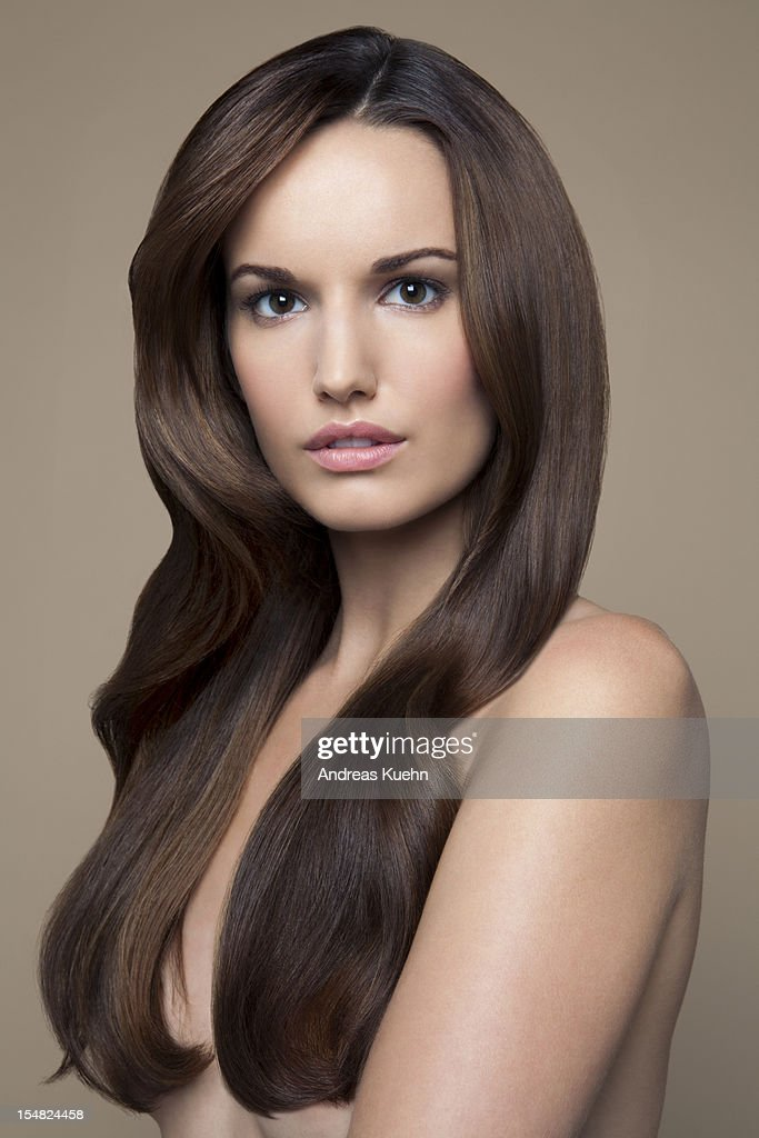 Naked Young Woman With Long Brown Hair Portrait Stock-Foto -8808