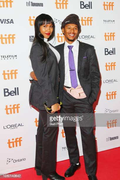 Nakel Smith and guest attend the Mid90s premiere during 2018 Toronto International Film Festival at Ryerson Theatre on September 9 2018 in Toronto...