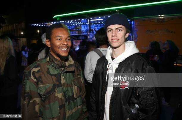 Nakel Smith and Ryder McLaughlin attend the premiere of A24's Mid90s after party on October 18 2018 in Los Angeles California