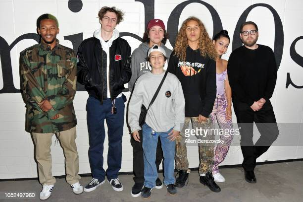 Nakel Smith Lucas Hedges Gio Galicia Sunny Suljic Olan Prenatt Alexa Demie and Jonah Hill attend the premiere of A24's Mid90s at West LA Courthouse...