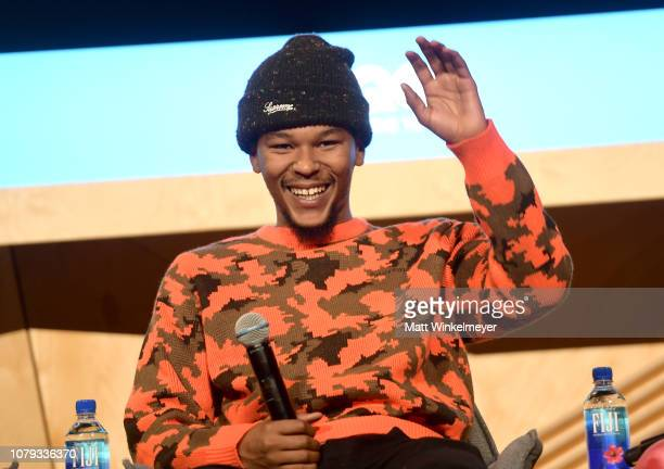 Nakel Smith speaks onstage at GQ Live The World Of Jonah Hill With The Cast Of 'Mid90s' at NeueHouse Los Angeles on December 07 2018 in Hollywood...