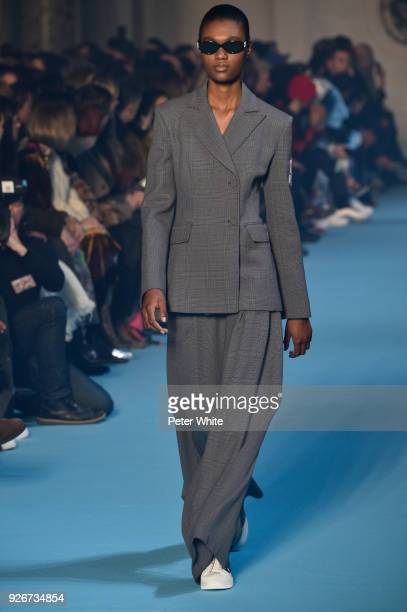 Naki Depass walks the runway during the OffWhite show as part of the Paris Fashion Week Womenswear Fall/Winter 2018/2019 on March 1 2018 in Paris...
