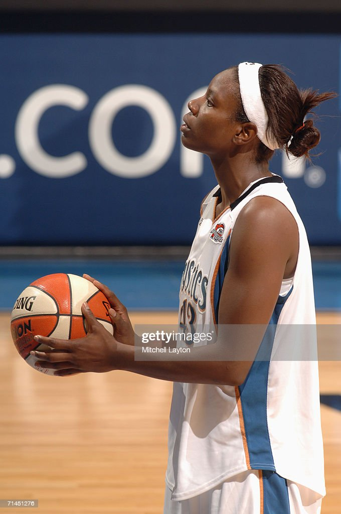 Nakia Sanford #43 of the Washington Mystics looks to shoot during a game against the Indiana Fever at MCI Center on June 27, 2006 in Washington, D.C. The Fever won 74-67.