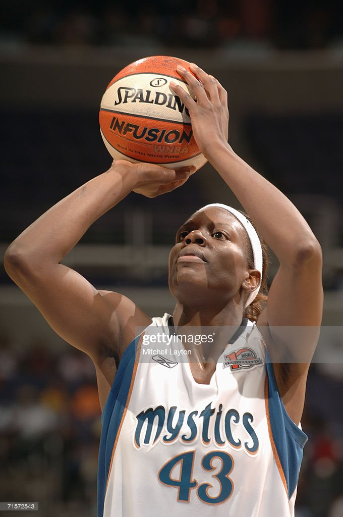 Nakia Sanford #43 of the Washington Mystics prepares to shoot a free throw during a game against the Seattle Storm at MCI Center on July 23, 2006 in Washington, D.C. The Storm won 73-71.