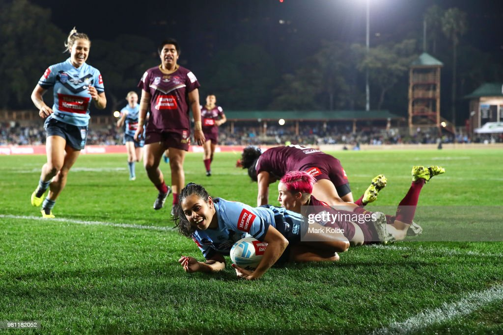 Nakia Welsh of the Blues scores a try during the Women's State of Origin match between New South Wales and Queensland at North Sydney Oval on June 22, 2018 in Sydney, Australia.