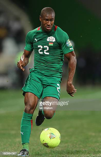 Nakoulma NPrejuce of Burkina Faso in action during the 2013 Africa Cup of Nations SemiFinal match between Burkina Faso and Ghana at the Mbombela...