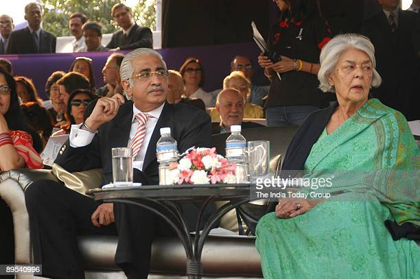Nakul Anand, Chief Executive of ITC�s Hotels Division, and Rajmata Gayatri Devi enjoy the Indian Masters Polo cup match at the Jaipur Polo Ground on...