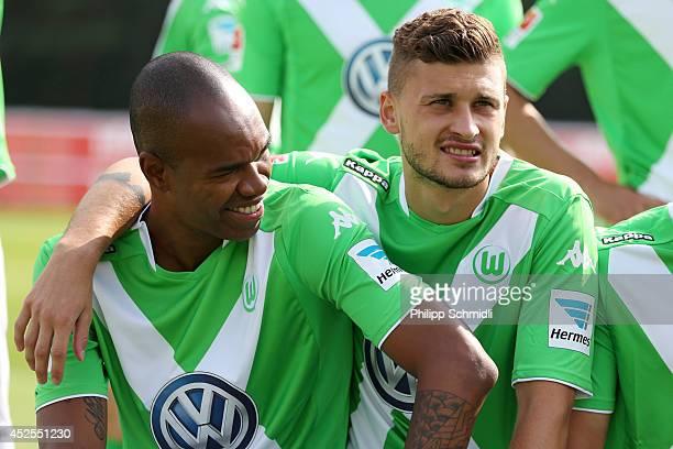 Naldo and Mateusz Klich line up prior to the VfL Wolfsburg team presentation on July 23 2014 in Bad Ragaz Switzerland