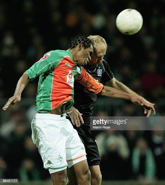 Naldo of Bremen and Sergej Barbarez of Hamburg jump for a header during the Bundesliga match between Werder Bremen and Hamburger SV at the Weser...