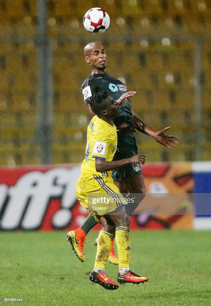 Naldo of FC Krasnodar is challenged by Moussa Doumbia (Top) of FC Rostov during the Russian Premier League match between FC Krasnodar v FC Rostov at Kuban Stadium on September 18, 2016 in Krasnodar, Russia.