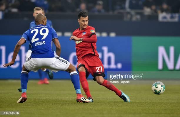Naldo of FC Schalke 04 and Davie Selke of Hertha BSC during the first Bundesliga match between Schalke 04 against Hertha BSC at the VeltinsArena on...