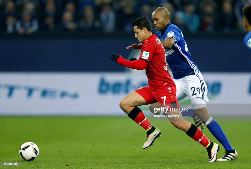 Naldo (R) of FC Schalke 04 in action against Javier Hernandez (7) of Bayer Leverkusen during the Bundesliga soccer match between FC Schalke 04 and Bayer Leverkusen at the Veltins Arena stadium in Gelsenkirchen, Germany on December 11, 2016.