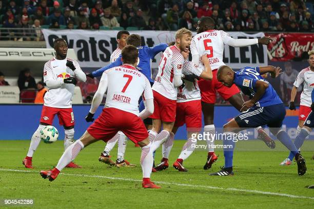 Naldo of Schalke after he scores a goal to make it 11 during the Bundesliga match between RB Leipzig and FC Schalke 04 at Red Bull Arena on January...