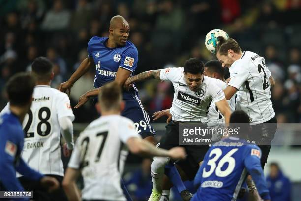 Naldo of Schalke Carlos Salcedo of Frankfurt and Marco Russ of Frankfurt fight for the ball during the Bundesliga match between Eintracht Frankfurt...