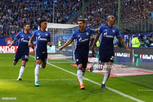Naldo of Schalke celebrates after he scored a goal to make it 01 during the Bundesliga match between Hamburger SV and FC Schalke 04 at...
