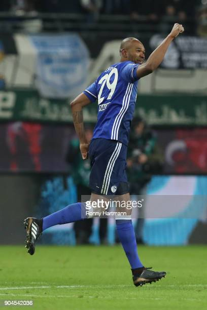 Naldo of Schalke celebrates after he scored a goal to make it 11 during the Bundesliga match between RB Leipzig and FC Schalke 04 at Red Bull Arena...