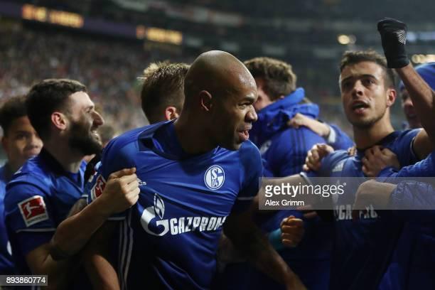 Naldo of Schalke celebrates after he scored a goal to make it 22 during the Bundesliga match between Eintracht Frankfurt and FC Schalke 04 at...