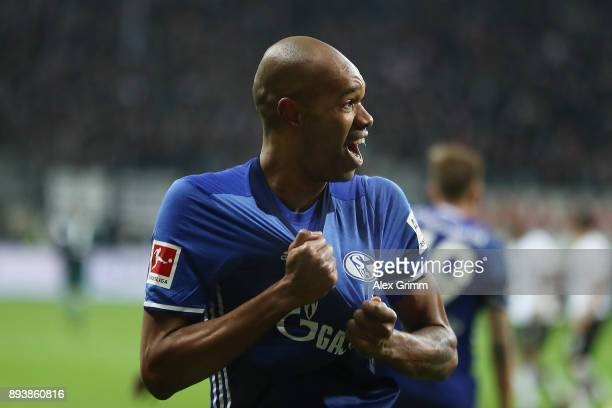 Naldo of Schalke celebrates after he scored a goal to make it 22 during the Bundesliga match between Eintracht Frankfurt and FC Schalke 04 at...