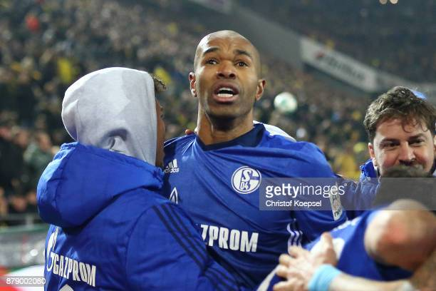 Naldo of Schalke celebrates after he scored a goal to make it 44 during the Bundesliga match between Borussia Dortmund and FC Schalke 04 at Signal...