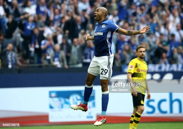 Naldo of Schalke celebrates after he scores the 2nd goal by free kick during the Bundesliga match between FC Schalke 04 and Borussia Dortmund at...