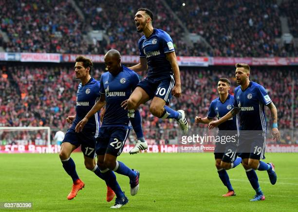 Naldo of Schalke celebrates after he scores the equalizing goal during the Bundesliga match between Bayern Muenchen and FC Schalke 04 at Allianz...