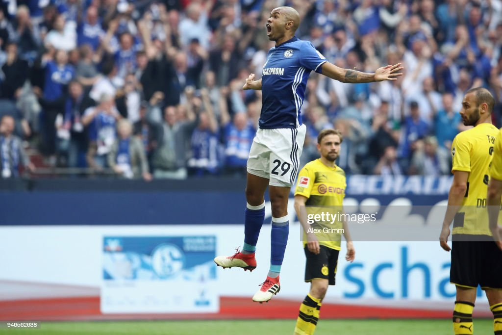 Naldo of Schalke celebrates his team's second goal during the Bundesliga match between FC Schalke 04 and Borussia Dortmund at Veltins-Arena on April 15, 2018 in Gelsenkirchen, Germany.