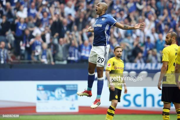 Naldo of Schalke celebrates his team's second goal during the Bundesliga match between FC Schalke 04 and Borussia Dortmund at VeltinsArena on April...