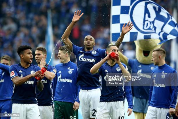 Naldo of Schalke celebrates victory over Dortmund after the Bundesliga match between FC Schalke 04 and Borussia Dortmund at VeltinsArena on April 15...