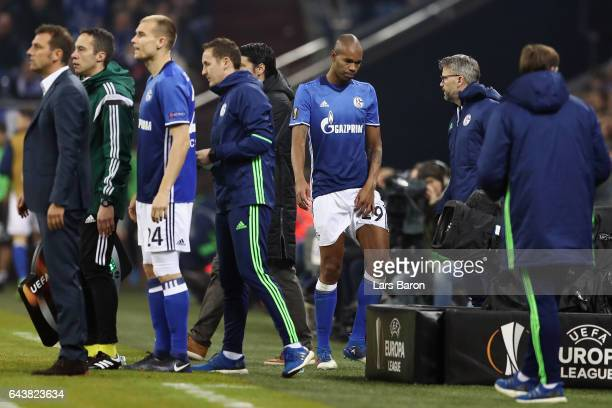 Naldo of Schalke is replaced by Holger Badstuber during the UEFA Europa League Round of 32 second leg match between FC Schalke 04 and PAOK Saloniki...