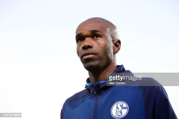 Naldo of Schalke looks on prior to the Bundesliga match between SportClub Freiburg and FC Schalke 04 at SchwarzwaldStadion on September 25 2018 in...