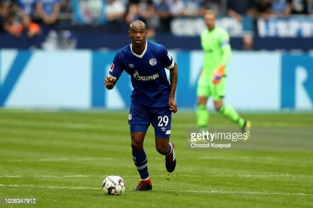 Naldo of Schalke runs with the ball during the Bundesliga match between FC Schalke 04 and Hertha BSC at VeltinsArena on September 2 2018 in...