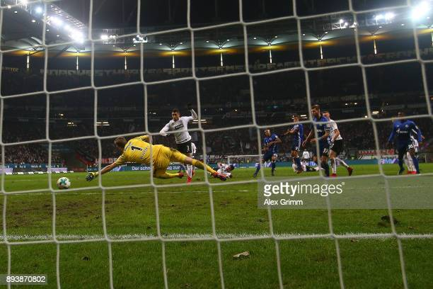 Naldo of Schalke scores a goal past goalkeeper Lukas Hradecky of Frankfurt to make it 22 during the Bundesliga match between Eintracht Frankfurt and...