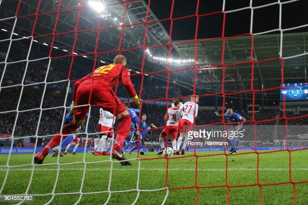 Naldo of Schalke scores a goal to make it 11 during the Bundesliga match between RB Leipzig and FC Schalke 04 at Red Bull Arena on January 13 2018 in...