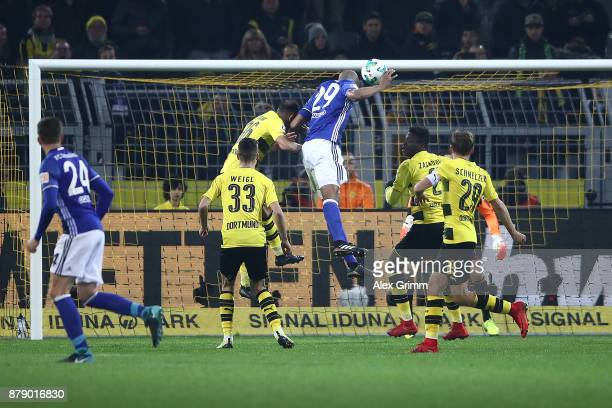 Naldo of Schalke scores a goal to make it 44 during the Bundesliga match between Borussia Dortmund and FC Schalke 04 at Signal Iduna Park on November...