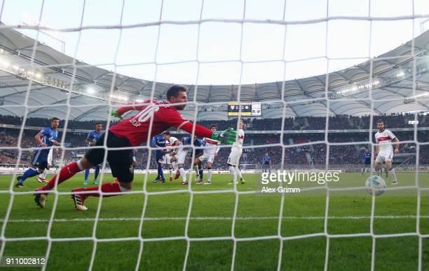 Naldo of Schalke scores his team's first goal past goalkeeper RonRobert Zieler of Stuttgart during the Bundesliga match between VfB Stuttgart and FC...