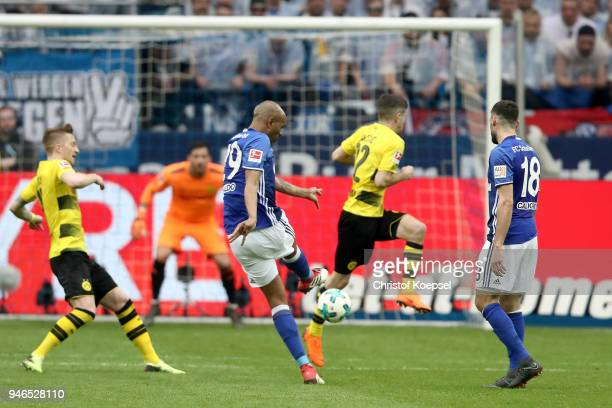 Naldo of Schalke scores the second goal during the Bundesliga match between FC Schalke 04 and Borussia Dortmund at VeltinsArena on April 15 2018 in...