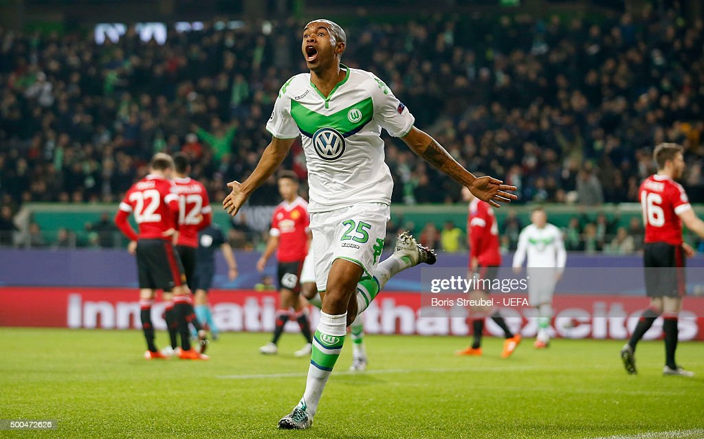Naldo of VfL Wolfsburg celebrates after scoring his team's third goal during the UEFA Champions League Group B match between VfL Wolfsburg and Manchester United FC at Volkswagen Arena on December 8, 2015 in Wolfsburg, Germany.