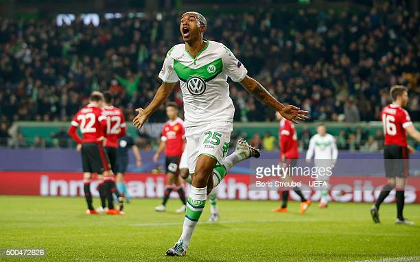 Naldo of VfL Wolfsburg celebrates after scoring his team's third goal during the UEFA Champions League Group B match between VfL Wolfsburg and...