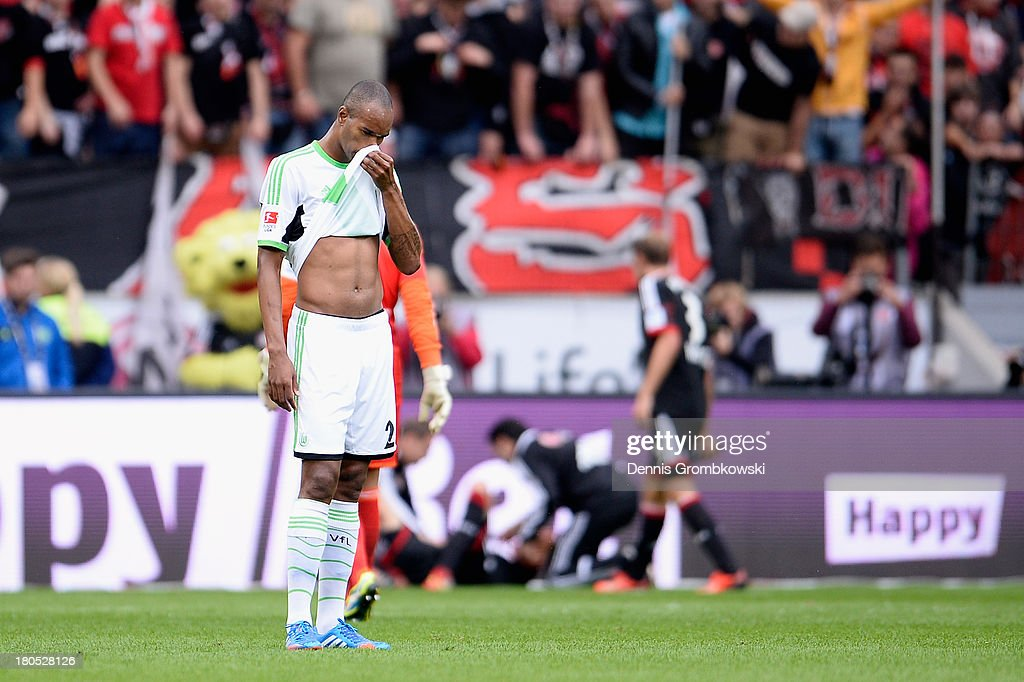 Naldo of VfL Wolfsburg shows his frustration during the Bundesliga match between Bayer 04 Leverkusen and VfL Wolfsburg at BayArena on September 14, 2013 in Leverkusen, Germany.