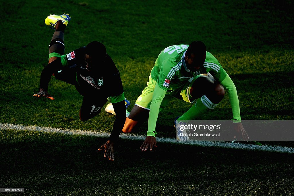 Naldo of Wolfsburg and Joseph Akpala of Werder Bremen battle for the ball during the friendly match between Werder Bremen and VfL Wolfsburg at Mardan Palace Stadium on January 9, 2013 in Kundu, Turkey.