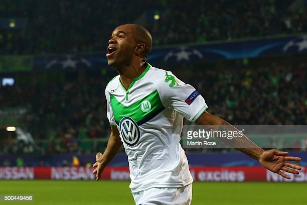 Naldo of Wolfsburg celebrates after scoring his team's third goal during the UEFA Champions League group B match between VfL Wolfsburg and Manchester...