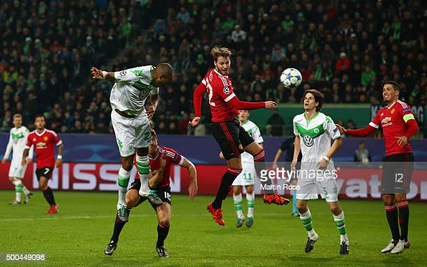 Naldo of Wolfsburg scores his team's third goal with a header during the UEFA Champions League group B match between VfL Wolfsburg and Manchester...