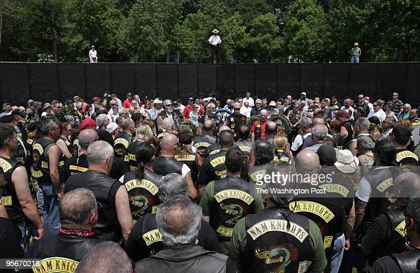 Nam Knights hold a ceremony at the Vietnam Wall. Rolling Thunder veterans and other groups on motorcycles gather at the Lincoln Memorial as they...