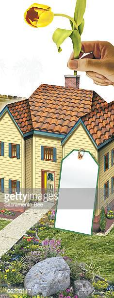 Nam Nguyen color illustration of a giant hand putting a flower into a chimney of a beautiful home; house has a tag sitting next to it that can have...