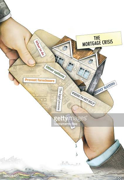 Nam Nguyen color illustration of a hand handing another an envelope filled with ideas for how to get through a mortgage crisis; includes an image of...