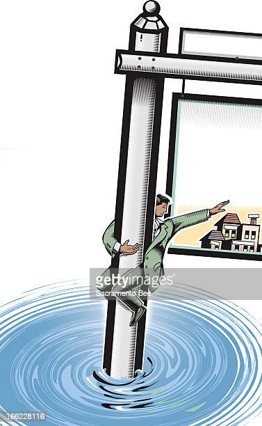Nam Nguyen color illustration of a man holding onto a giant home for-sale sign that's sinking into water while he tries to grab a home. For stories...