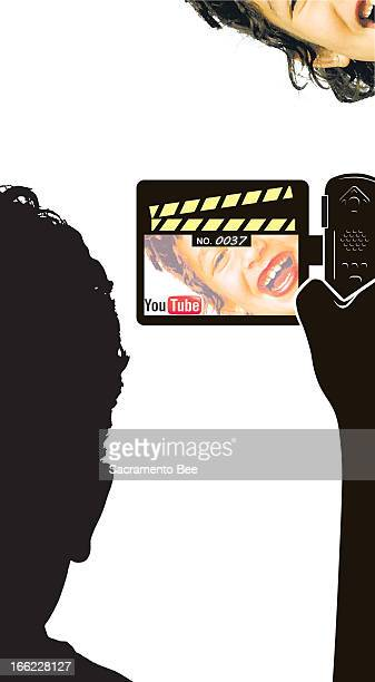 Nam Nguyen color illustration of a silhouetted person with a camcorder taping a person for a YouTube upload. For use with stories about YouTube.com.