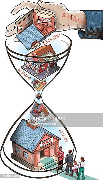 Nam Nguyen color illustration of mortgage lender's hand stuffing an hourglass with foreclosed properties; the falling homes and prices become a new...