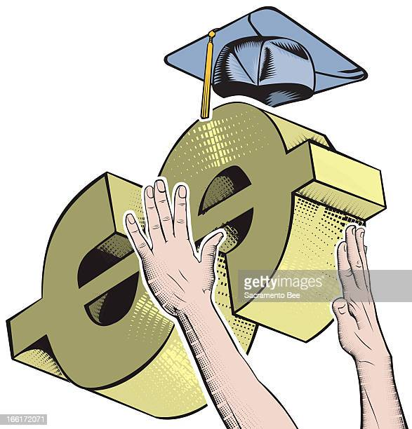 Nam Nguyen color illustration of two hands trying to grasp a dollar sign with a mortarboard on top.