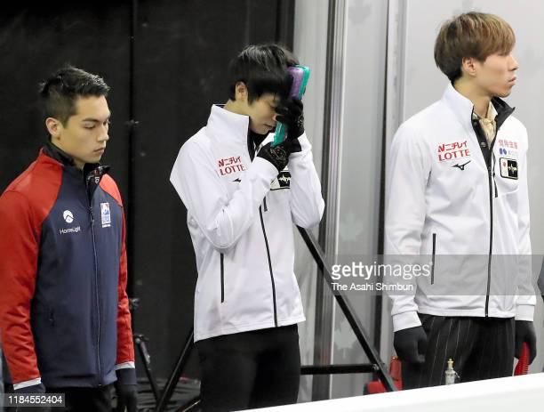 Nam Nguyen of Canada Yuzuru Hanyu of Japan and Keiji Tanaka of Japan are seen prior to a practice during the ISU Grand Prix of Figure Skating Canada...